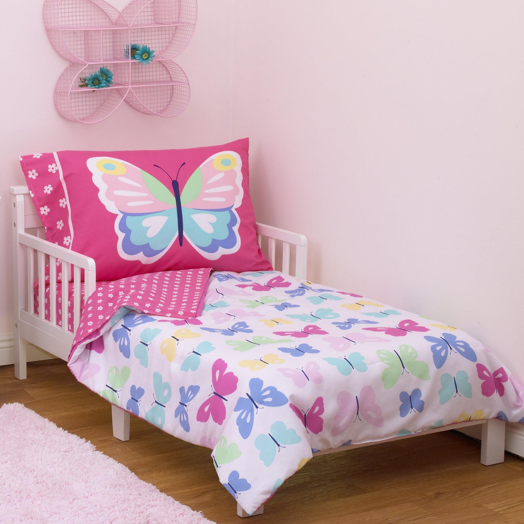 new styles dba37 cd3a0 Butterflies 4 Piece Toddler Bedding Set