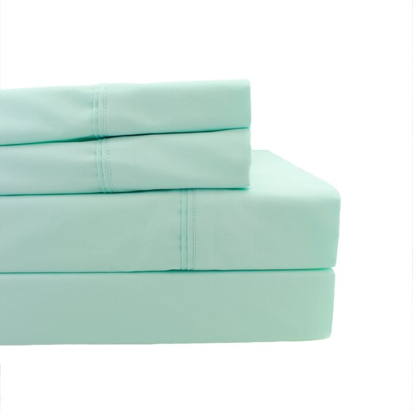 Coulson Pleat Hem 300 Thread Count Percale Sheet Set by Rosecliff Heights