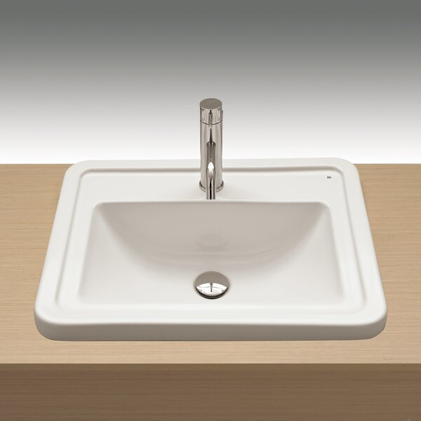 Universal Ceramic Rectangular Drop-In Bathroom Sink with Overflow by Bissonnet