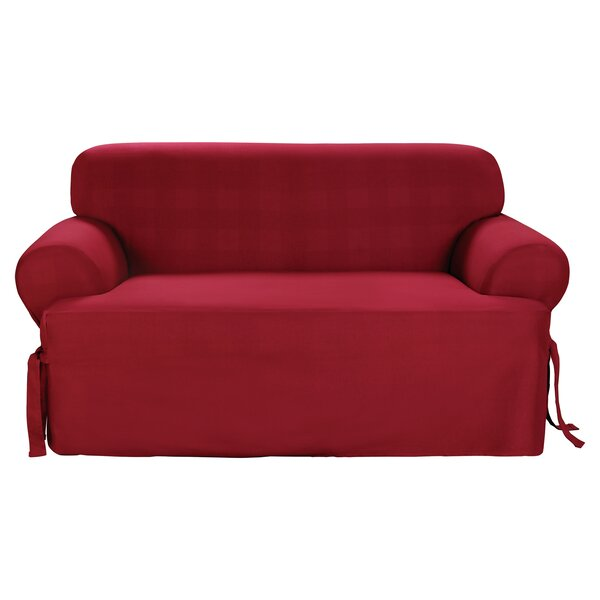 Cotton Duck T-Cushion Loveseat Slipcover by Sure F