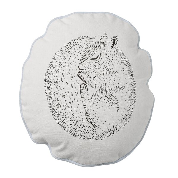 Santiago Sleeping Squirrel Cotton Throw Pillow by Viv + Rae