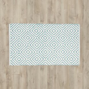 Find Mascorro White/Turquoise Area Rug By Bungalow Rose