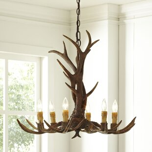 Wood chandeliers youll love wayfair ludlow 6 light candle style chandelier aloadofball Image collections