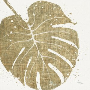 Gold Leaves III Graphic Art on Wrapped Canvas by Mercury Row