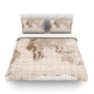 World map bedding sets coverlets quilts wayfair emerald world vintage map by catherine holcombe featherweight duvet cover gumiabroncs Gallery