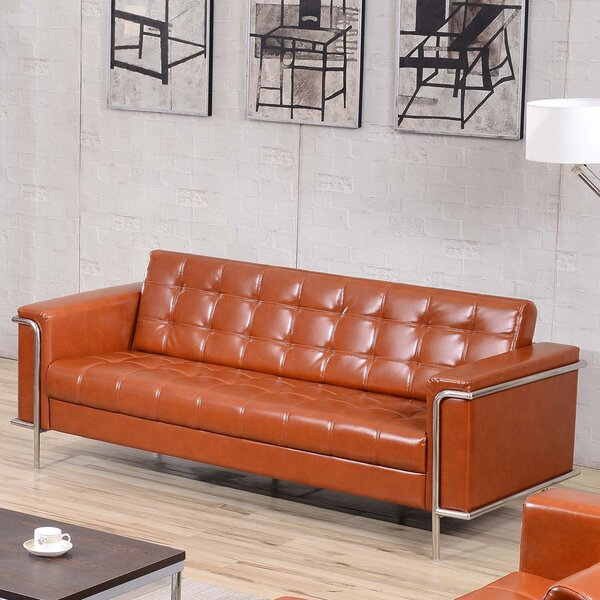 Reviews Myron Contemporary Leather Sofa by Wade Logan