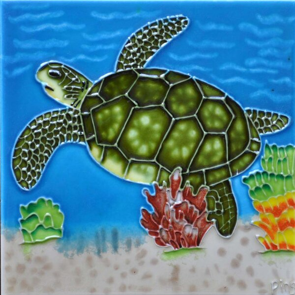 Single Sea Turtle Tile Wall Decor by Continental Art Center