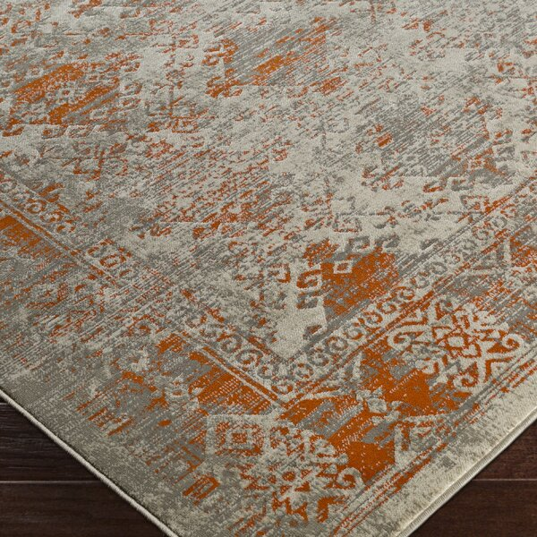 Anil Orange/Gray Area Rug by Bungalow Rose