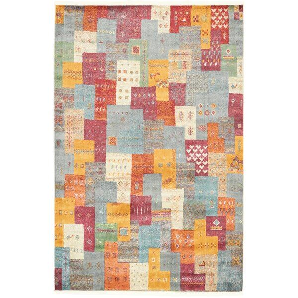 Rolling Hills Estates Rustic Yellow/Red/Blue Area Rug by Bloomsbury Market