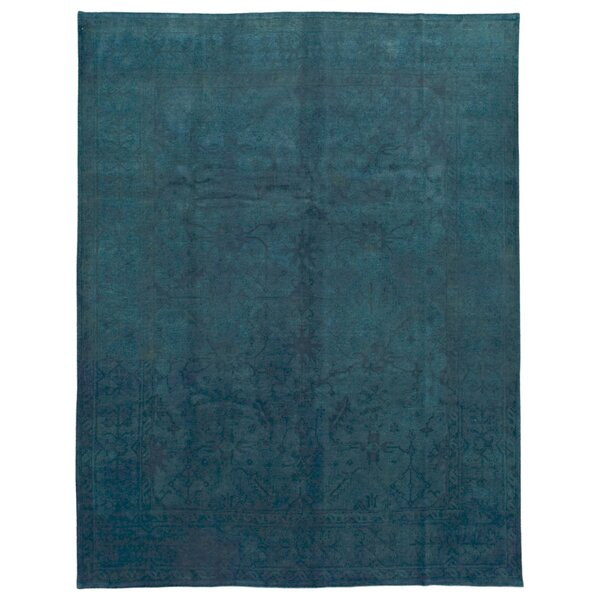 One-of-a-Kind Safi Overdye Hand-Woven Wool Blue Area Rug by Bloomsbury Market