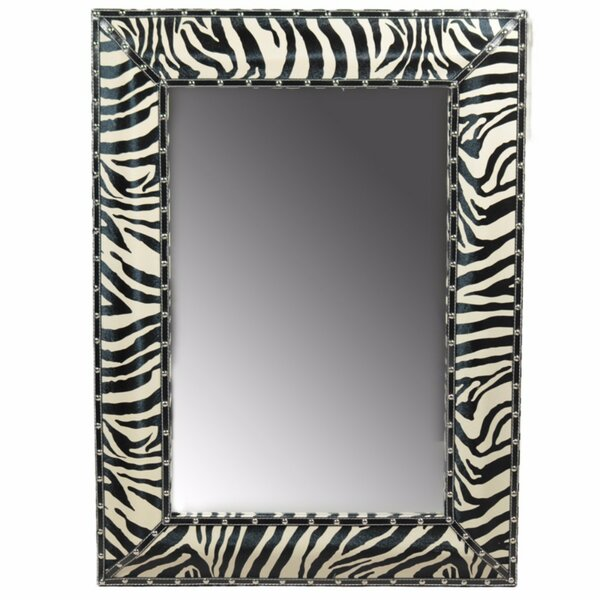 Crossett Well Designed Striped Wooden Accent Mirror by World Menagerie