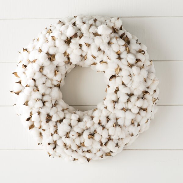 Faux Cotton Burst Wreath by Laurel Foundry Modern Farmhouse