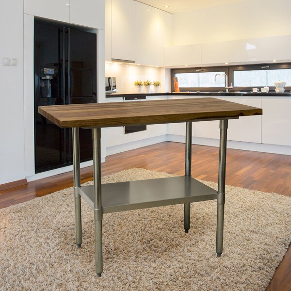 Robles Prep Table with Solid Wood Top by Williston Forge