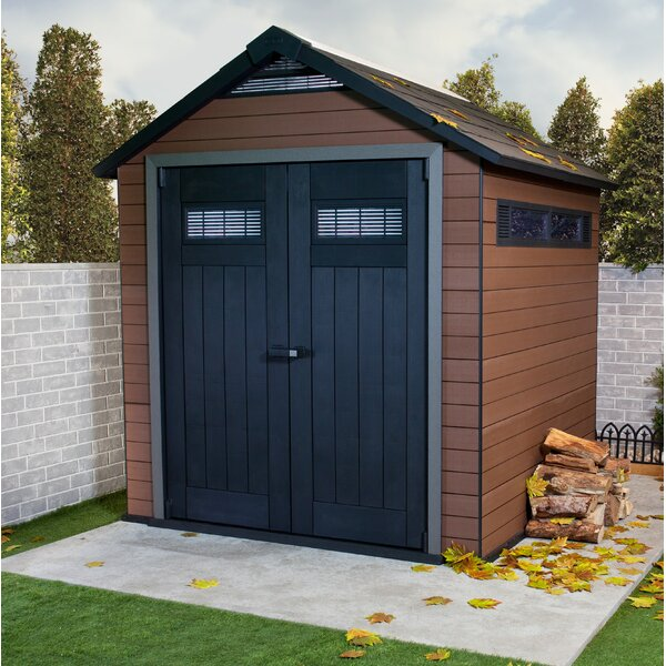 Fusion 7 ft. 4 in. W x 7 ft. 5 in. Manufactured Wood Storage Shed by Keter