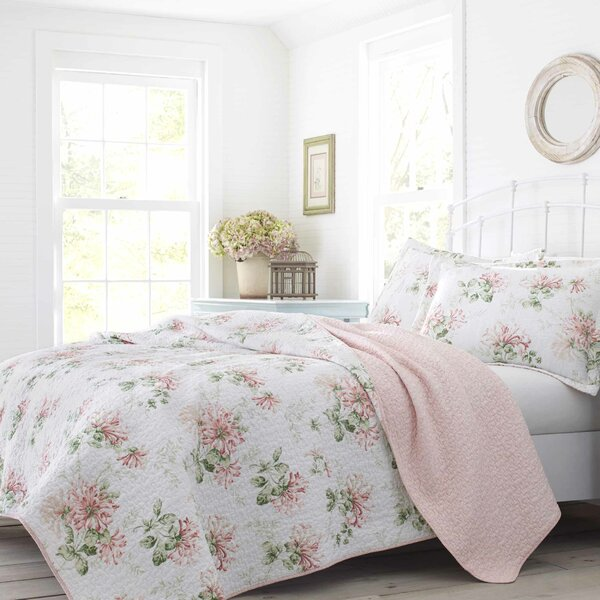 Honeysuckle Cotton Reversible Quilt Set by Laura Ashley Home by Laura Ashley Home