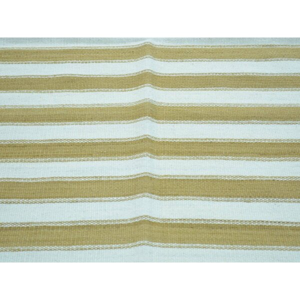 One-of-a-Kind Birkett Striped Handmade Kilim Brown Wool Area Rug by Isabelline