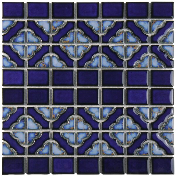 Jericho Random Sized Porcelain Mosaic Tile in Cobalt by EliteTile