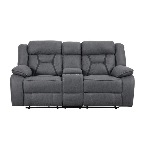 Beautiful Classy Tien Reclining Motion Loveseat with Console by Latitude Run by Latitude Run