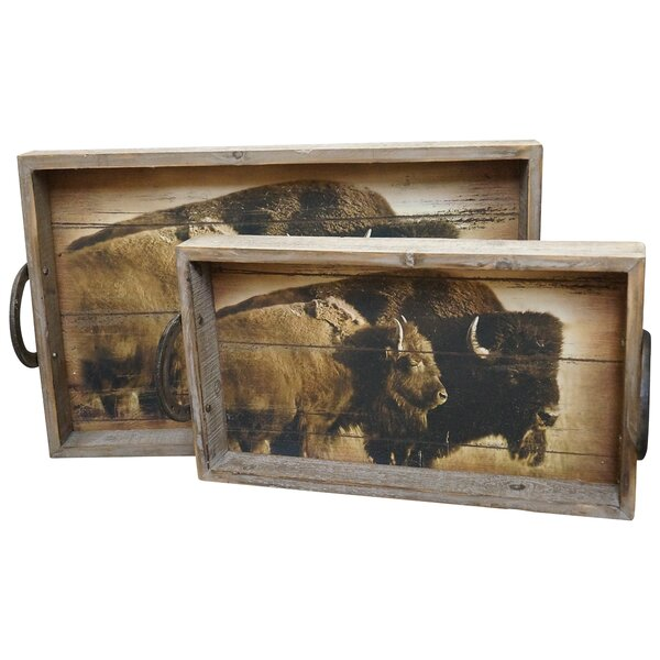 Prompton Wood 2 Piece Accent Tray Set by Loon Peak
