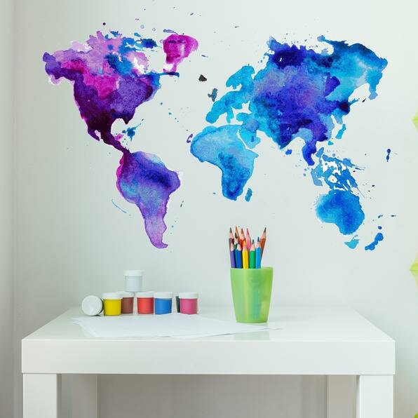 Watercolor World Map Wall Decal Part 62