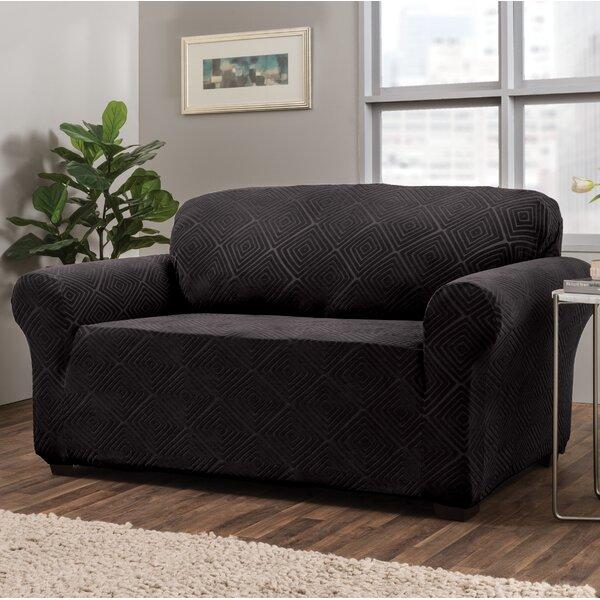 Diamond Box Cushion Loveseat Slipcover By Symple Stuff