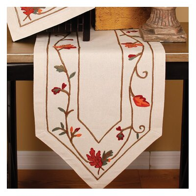 Harvest Vine Crewel Embroidered Harvest Table Runner