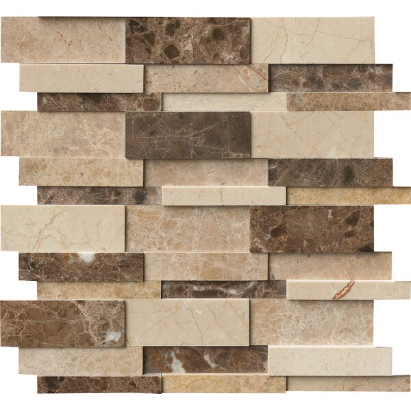 Asteria Blend Interlocking 3D Marble Mosaic Tile in Beige/Brown by MSI