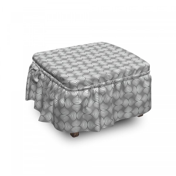 Twisted Circle Stripes Ottoman Slipcover (Set Of 2) By East Urban Home