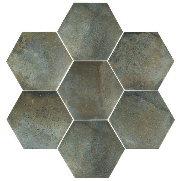 Victoria Ferro Hex 14.13 x 16.25 Porcelain Field Tile in Greige by EliteTile