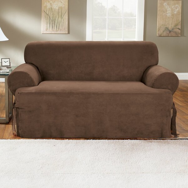 Soft Suede Furniture T-Cushion Sofa Slipcover By Sure Fit