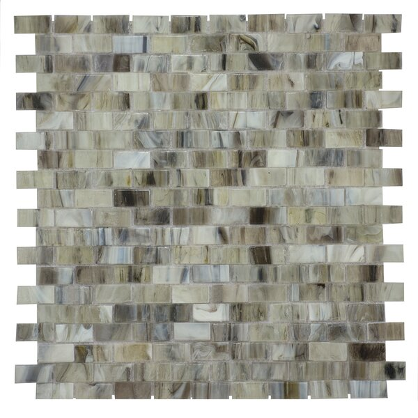 Acuto 12.28 x 12.99 Glass Mosaic Tile in Green/Gray by Byzantin Mosaic