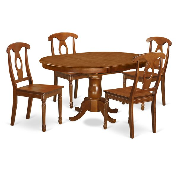 Portna 5 Piece Solid Wood Dining Set by East West Furniture