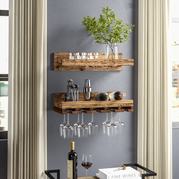 Bernon 2 Piece Wall Mounted Wine Glass Rack Set By Trent Austin Design