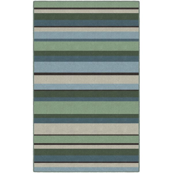 Phineas Striped Blue/Green Area Rug by Winston Porter