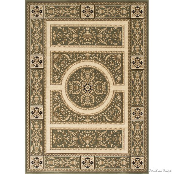 Hubbard High-End Ultra-Dense Thick Woven Floral Sage Green Area Rug by Bloomsbury Market
