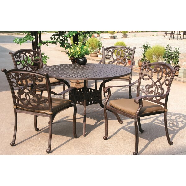 Calhoun Traditional 5 Piece Dining Set with Cushions by Fleur De Lis Living