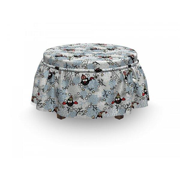 Owls Winter Snow Xmas Doodle 2 Piece Box Cushion Ottoman Slipcover Set By East Urban Home