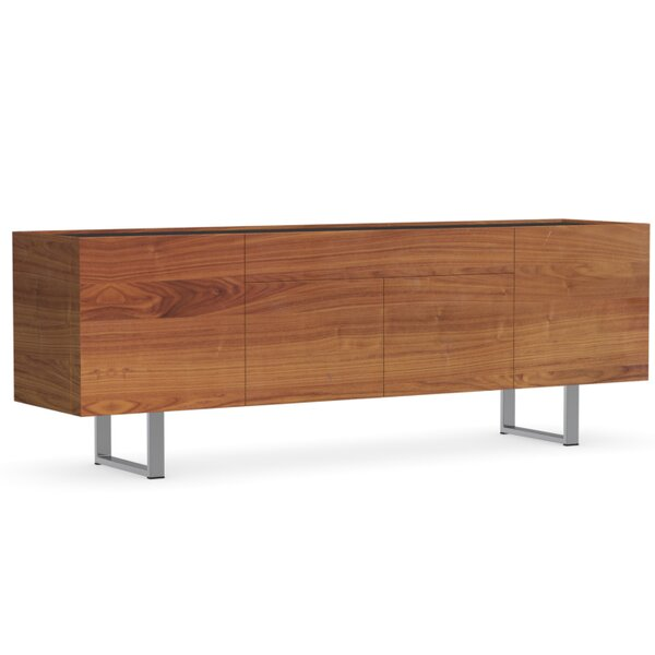 Canaletto Walnut With Frosted Black Glass Buffet Table By Calligaris