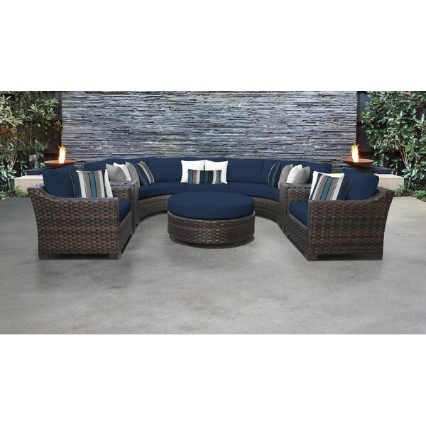 River Brook 8 Piece Outdoor Wicker Patio Furniture Set 08h by kathy ireland Homes & Gardens by TK Classics