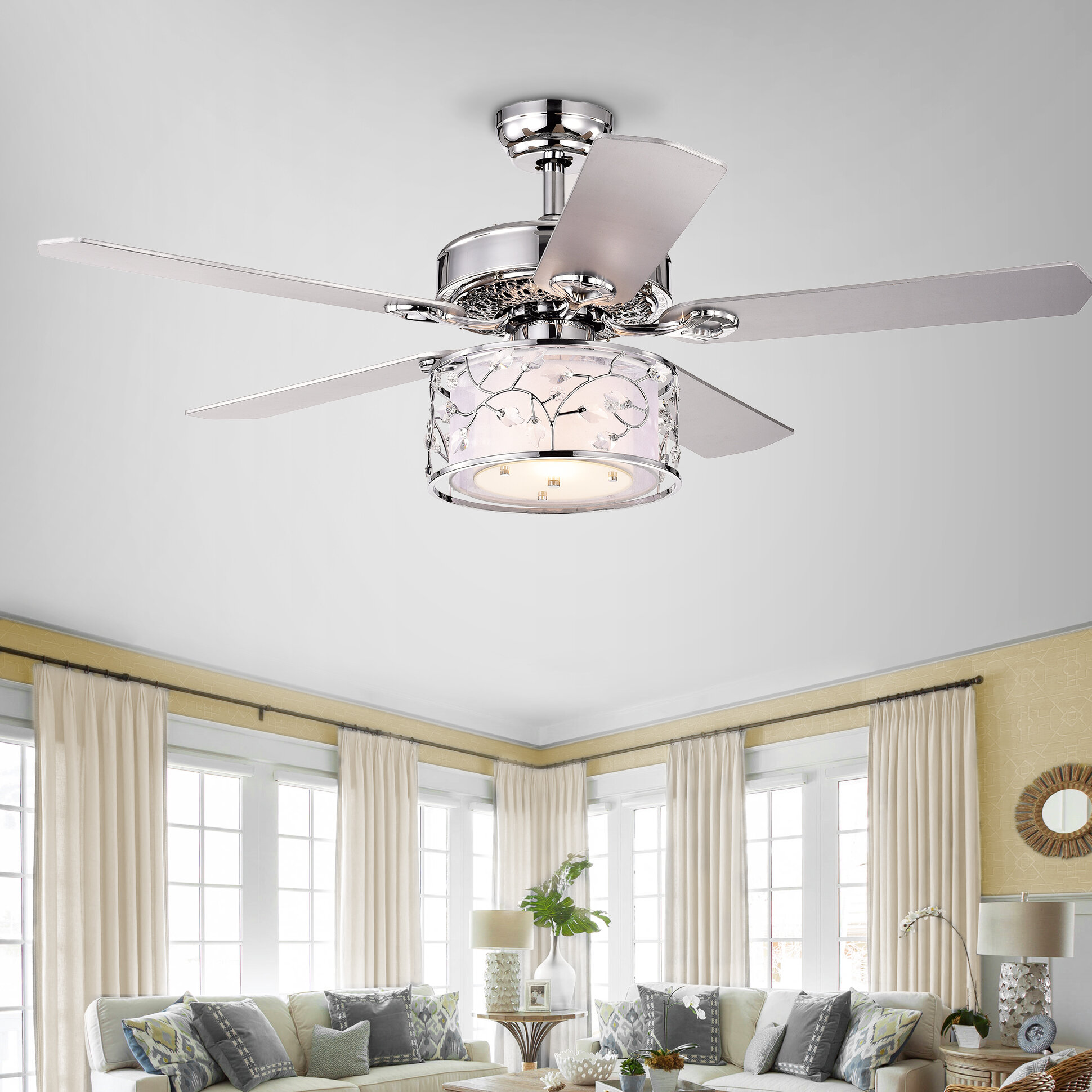 Rosdorf Park 52 Dobbins 5 Blade Crystal Ceiling Fan With Remote Control And Light Kit Included Reviews Wayfair