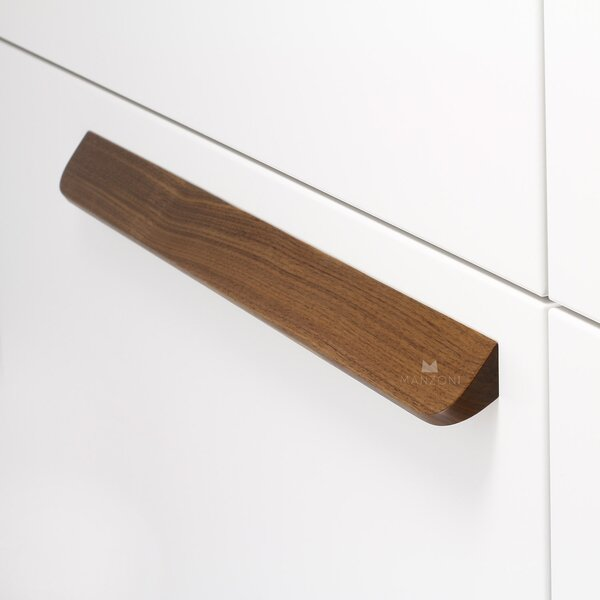 Angled Designer Wood 6 1/3'' Center Bar Pull by Manzoni