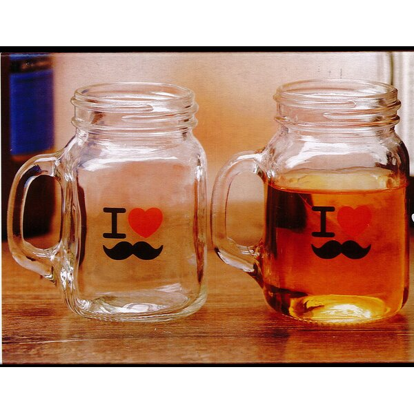 I Love Mustache 5 Oz. Mason Jar (Set of 4) by Linen Depot Direct