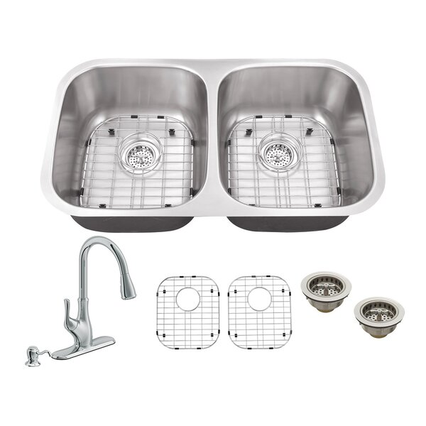 32.25 L x 18.5 W Double Bowl Undermount Kitchen Sink with Faucet by Soleil
