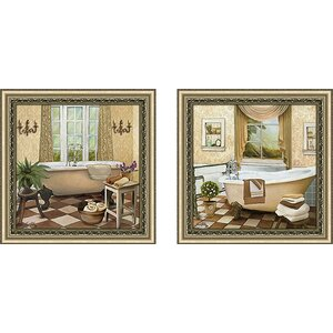 French Bath II' 2 Piece Framed Acrylic Painting Print Set Under Glass by Ophelia & Co.