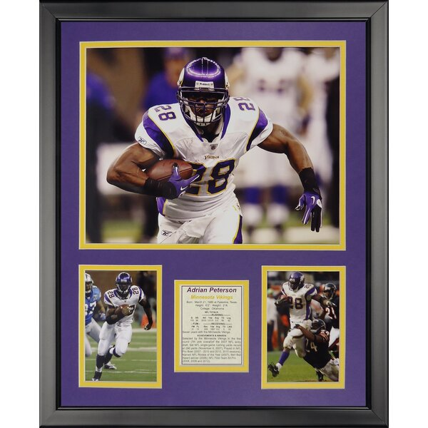 NFL Minnesota Vikings - Peterson Away Framed Memorabili by Legends Never Die