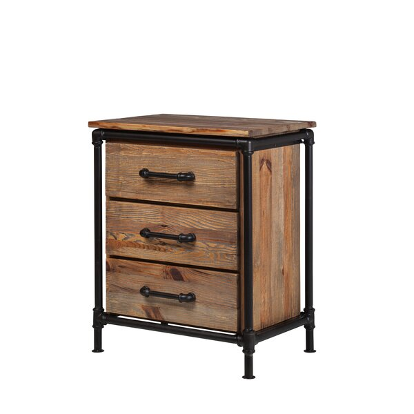 Industrial Reclaimed Pine 3 Drawer Nightstand by Design Tree Home