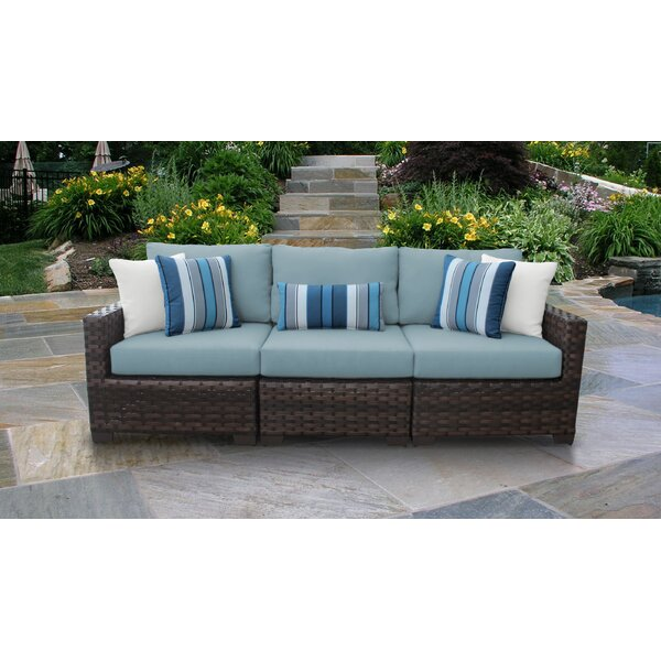 River Brook Patio Sofa with Cushions (Set of 3) by kathy ireland Homes & Gardens by TK Classics kathy ireland Homes & Gardens by TK Classics
