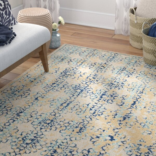Elson Rectangle Ivory/Blue Area Rug by Mistana