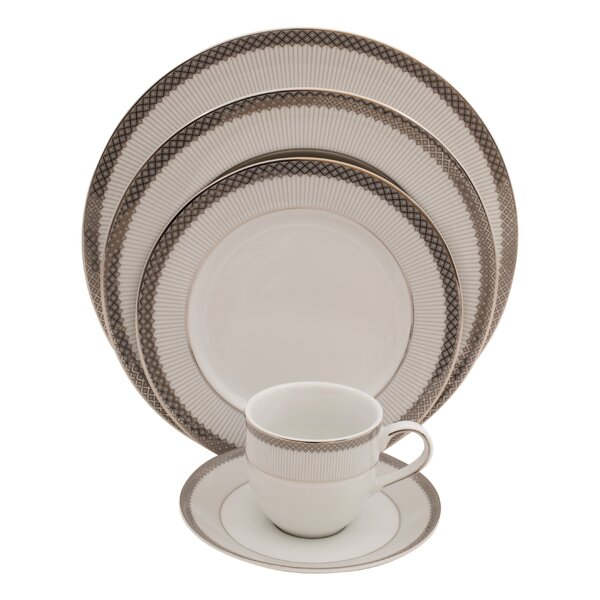 Diamond 5 Piece Fine China Place Setting, Service for 1 (Set of 4) by Shinepukur Ceramics USA, Inc.