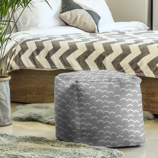 Two Color Lined Chevrons Cube Ottoman by East Urban Home